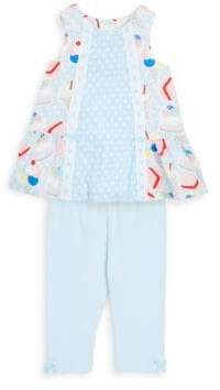 Baby Girl's Two-Piece Graphic Cotton Top & Leggings Set