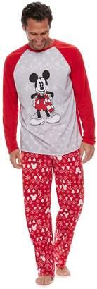 Disneyjammies For Your Families Disney's Mickey Mouse Men's Mickey Top & Fairisle Microfleece Bottoms Pajamas Set by Jammies For Your Families
