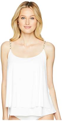 MICHAEL Michael Kors Safari Solids Layed Tankini Top w/ Chain Detail Removable Soft Cups Women's Swimwear