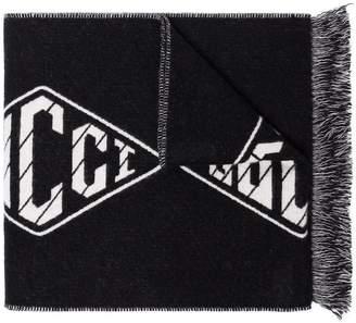 Gucci black GG diamond logo wool cashmere scarf