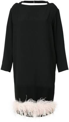 Prada feather trim dress