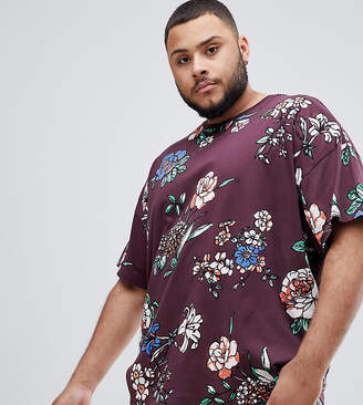 Asos DESIGN Plus overized t-shirt with all over floral print