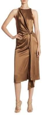 Halston Draped Gathered Dress
