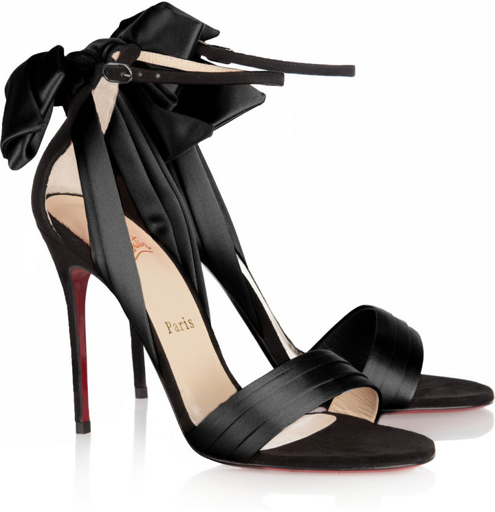 Christian Louboutin Vampanodo 100 satin and suede sandals