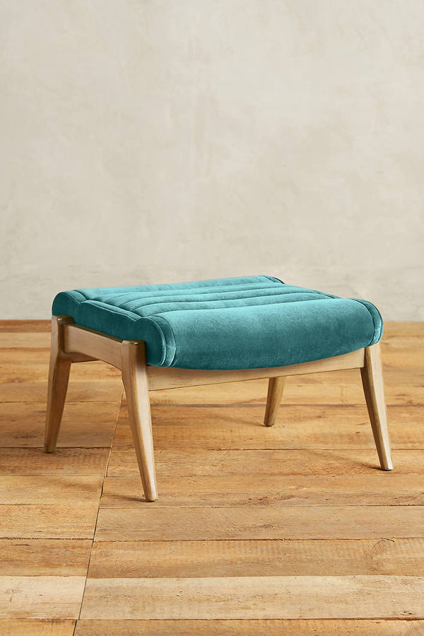 Anthropologie Anthropologie Velvet Roadway Ottoman