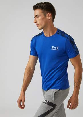 Emporio Armani Ea7 Cotton T-Shirt With Camouflage Band On The Shoulders