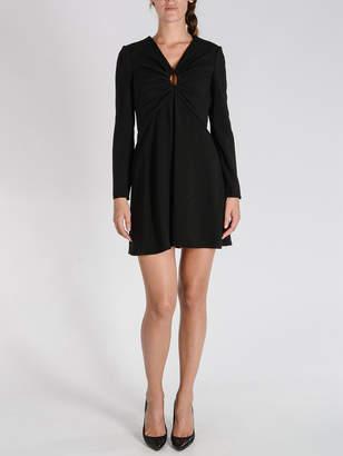 Saint Laurent (サン ローラン) - SAINT LAURENT Vネック 長袖ドレス ブラック 36