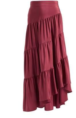 WtR - WtR Burgundy Tiered Ruffle Silk Maxi Skirt