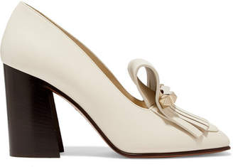 Valentino Garavani Uptown 90 Fringed Leather Pumps - Ivory