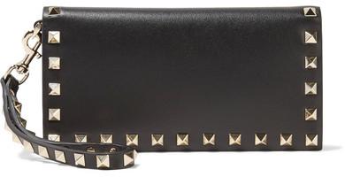 Valentino - The Rockstud Wristlet Leather Wallet - Black
