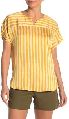 Vince Camuto Split Neck Stripe Top