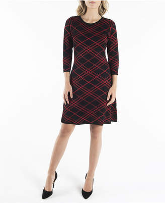 Nanette Lepore 3/4 Sleeve Jewel Neckline Fit and Flare Sweater Dress