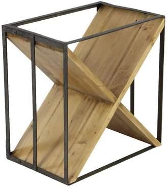UMA Cedar Brown/Iron Black Modern X-Frame Wine Rack