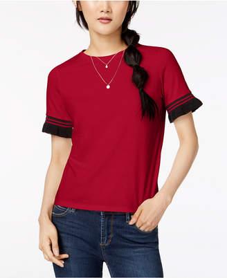 Self Esteem Juniors' Contrast Stripe Ruffle-Sleeve T-Shirt