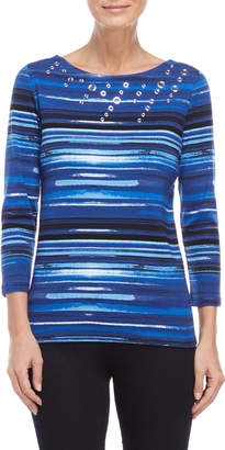 Rafaella Watercolor Stripe Grommet Top