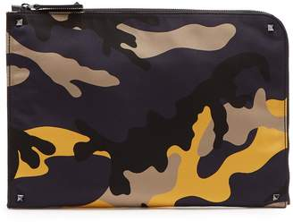 Valentino Camouflage jacquard document holder