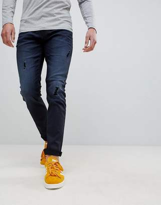 ONLY & SONS Slim Fit Jeans In Coated Denim With Rip Details