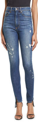 Tre By Natalie Ratabesi Beth High-Waist Curved-Seam Paint-Splatter Skinny Denim Pants