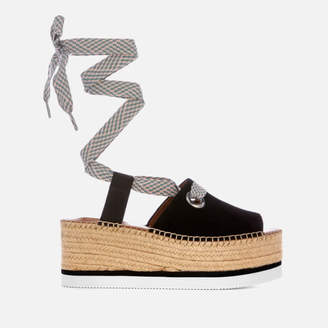 64b92ef107a7 See by Chloe Women s Tie Up Espadrille Mid Wedge Sandals - Black