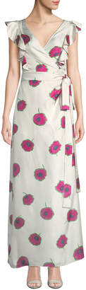 Double J Sleeveless Poppy-Print Wrap Silk Wedding Guest Dress