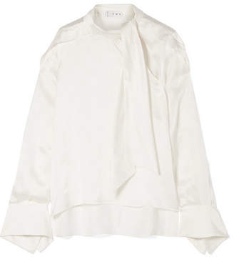 Off-White TRE - Talulah Pussy-bow Silk-jacquard Blouse