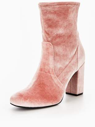 Very Rebel Velvet Block Heel Ankle Boot - Pink