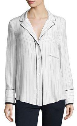 FRAME Pinstripe Silk Pajama Shirt, Blanc/Navy $275 thestylecure.com