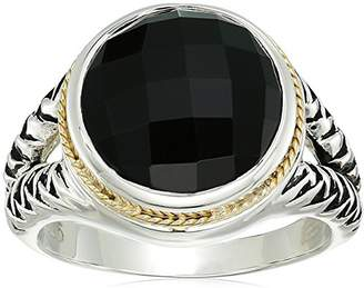 Effy Womens 925 Sterling Silver/18K Yellow Gold Onyx Ring