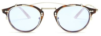 Gucci Detachable Lens Round Frame Acetate Sunglasses - Mens - Brown