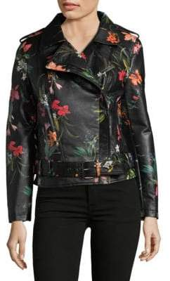 Bagatelle Faux Leather Floral Moto Jacket