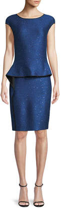 St. John Luster Sequin Knit Peplum Cap-Sleeve Dress