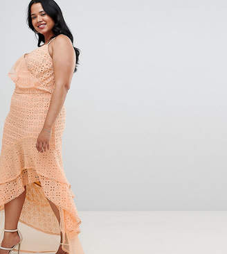 Asos DESIGN Curve asymmetric rufflle broderie maxi dress
