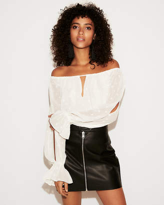 Express Petite Off The Shoulder Keyhole Cut-Out Thong Bodysuit