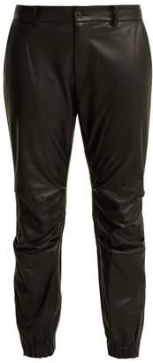 Nili Lotan Cropped Leather Trousers - Womens - Black
