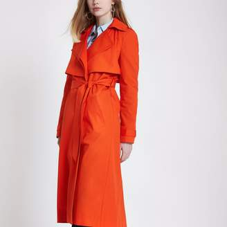 River Island Womens Red double collar belted trench coat