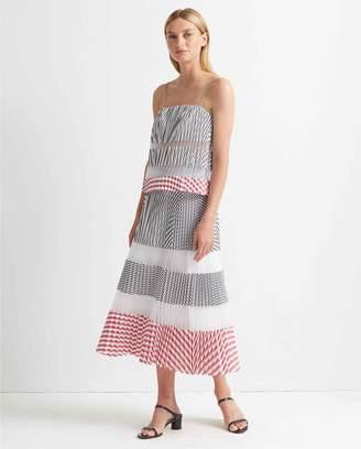 Club Monaco Pleated Midi Stripe Skirt