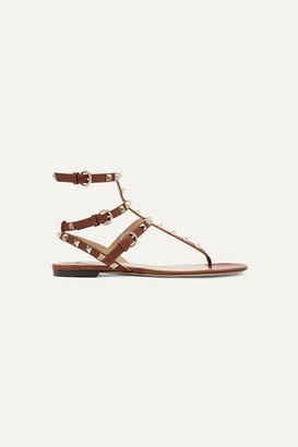 Valentino Garavani The Rockstud Leather Sandals - Brown