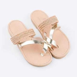 NEW Braided slides in tan and gold Women's by Banjarans Leather Sandals