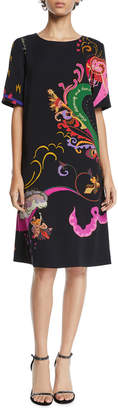 Etro Dream Dance Paisley Short-Sleeve Sheath Dress