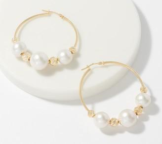 Italian Gold Cultured Pearl Diamond Cut Bead Hoop Earrings, 14K