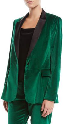 Macey One-Button Fitted Velvet Tuxedo Blazer
