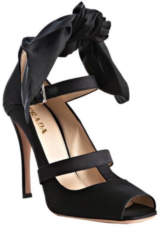 Prada black satin ankle wrap peep toe pumps