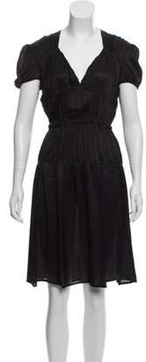 Miu Miu Short Sleeve Midi Dress Black Short Sleeve Midi Dress
