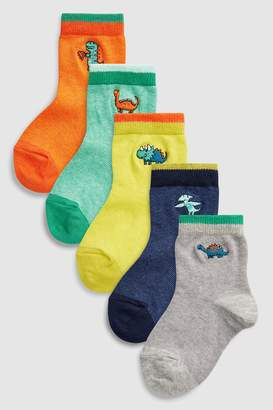 Next Boys Bright Dinosaur Embroidery Socks Five Pack (Younger)