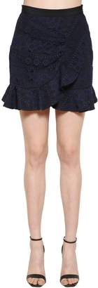 Self-Portrait Ruffled Lace Mini Skirt