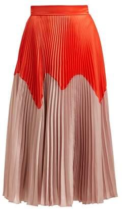 Roksanda Ollyn Bi Colour Pleated Satin Skirt - Womens - Orange Multi