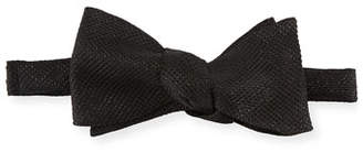 Eton Metallic-Knit Bow Tie, Black