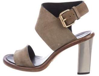 Celine Suede Ankle Strap Sandals silver Suede Ankle Strap Sandals
