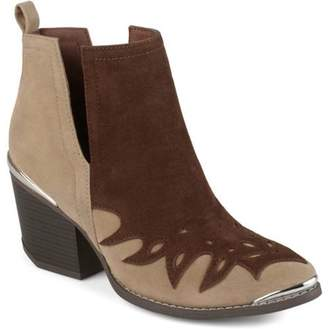 Brinley Co. Women's Faux Suede Two-tone Western Side Slit Booties