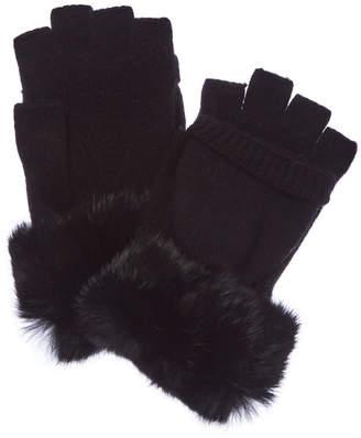 Qi Black Cashmere Pop Top Gloves